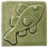 "Fish 3""x3"" Ceramic Handmade Tile - spearmint glaze"