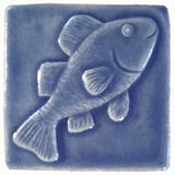 "Fish 3""x3"" Ceramic Handmade Tile - watercolor blue glaze"