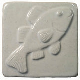 "Fish 3""x3"" Ceramic Handmade Tile - white glaze"