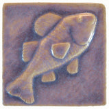 "Fish 4""x4"" Ceramic Handmade Tile - Hyacinth Glaze"