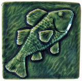 "Fish 4""x4"" Ceramic Handmade Tile - Leaf Green Glaze"