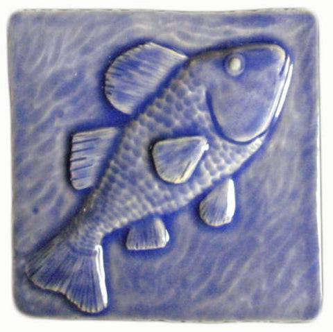 "Fish 4""x4"" Ceramic Handmade Tile - Watercolor Blue Glaze"
