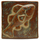 "Fish 4""x4"" Ceramic Handmade Tile - Autumn Glaze"