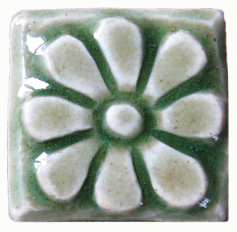 "Flower 1""x1"" Ceramic Handmade Tile - Spearmint Glaze"