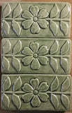 "Flowering Vine 3""x6"" Ceramic Handmade Tile - Spearmint Glaze Grouping"