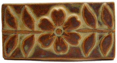 "Flowering Vine 3""x6"" Ceramic Handmade Tile - Autumn Glaze"