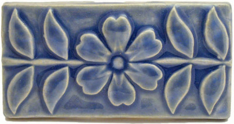 "Flowering Vine 3""x6"" Ceramic Handmade Tile - Watercolor Blue Glaze"