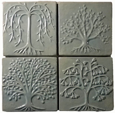 Four six inch Trees Ceramic Handmade Tile Set - Celadon Glaze