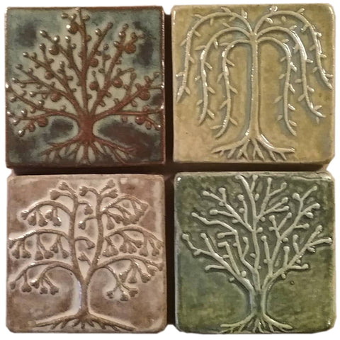 "Quartet of trees, Four 4""x4"" Ceramic Handmade Tiles- Multi Glaze"