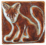 "Fox 2""x2"" Ceramic Handmade Tile - Autumn Glaze"