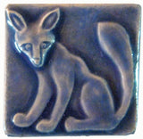 "Fox 2""x2"" Ceramic Handmade Tile - Watercolor Blue Glaze"
