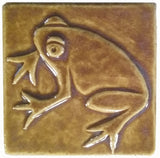 "Frog 3""x3"" Ceramic Handmade Tile - Honey Glaze"