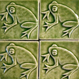 "Frog 3""x3"" Ceramic Handmade Tile - Spearmint Glaze Grouping"