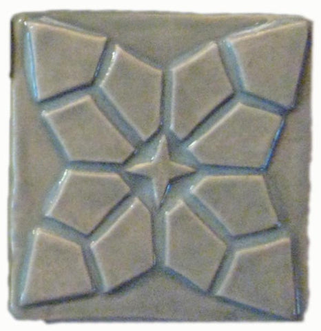"Geometric Bloom 3""x3"" Ceramic Handmade Tile - Celadon Glaze"