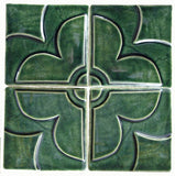 "Geometric Blossom Set, Four 4""x4"" Ceramic Handmade Tiles- Leaf Green Glaze"