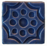 "Geometric Pod 3""x3"" Ceramic Handmade Tile - Watercolor Blue Glaze"