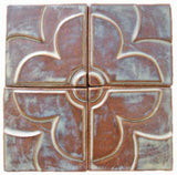 "Geometric Blossom Set, Four 4""x4"" Ceramic Handmade Tiles- Autumn Glaze"