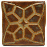 "Geometric Bloom 3""x3"" Ceramic Handmade Tile - Autumn Glaze"