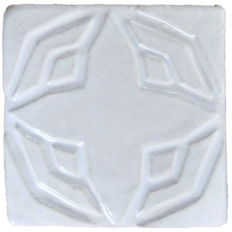 "Geometric Star 3""x3"" Ceramic Handmade Tile - White Glaze"
