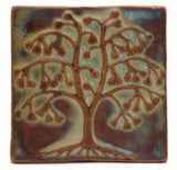 "Ginkgo Tree 4""x4"" Ceramic Handmade Tile - Autumn Glaze"