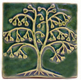 "Ginkgo Tree 4""x4"" Ceramic Handmade Tile - Leaf Green Glaze"