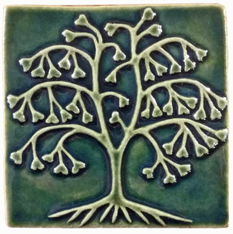 "Ginkgo Tree 6""x6"" Ceramic Handmade Tile - Leaf Green Glaze"