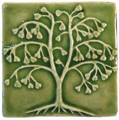 "Ginkgo Tree 4""x4"" Ceramic Handmade Tile - Spearmint Glaze"