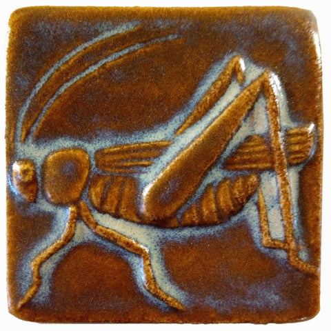 "Grasshopper 3""x3"" Ceramic Handmade Tile - Autumn Glaze"