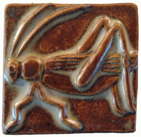 "Grasshopper 2""x2"" Ceramic Handmade Tile - Autumn Glaze"