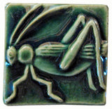 "Grasshopper 2""x2"" Ceramic Handmade Tile - Leaf Green Glaze"
