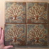 "Tree Of Life 6""x6"" Ceramic Handmade Tile -  Grouping Autumn Glaze"
