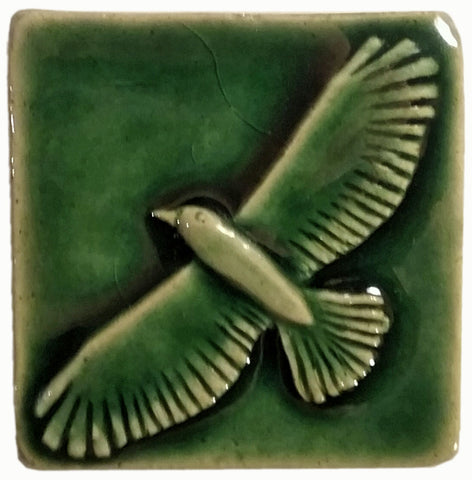 "Hawk 2""x2"" Ceramic Handmade Tile - Leaf Green Glaze"