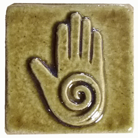 "Healing Hand 2""x2"" Ceramic Handmade Tile - Honey Glaze"