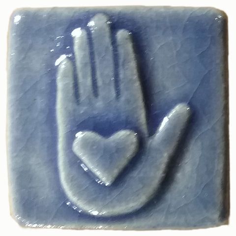 "Heart in Hand 2""x2"" Ceramic Handmade Tile - Watercolor Blue Glaze"