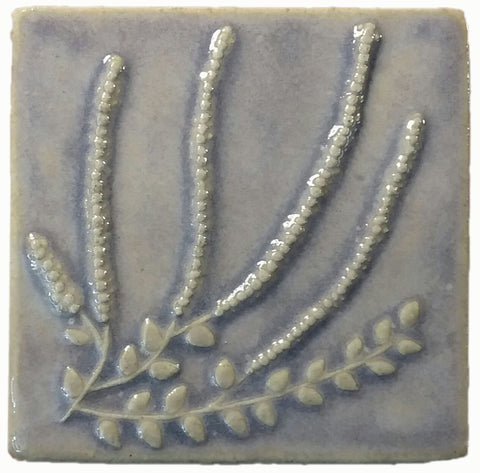 "Heather 4""x4"" Ceramic Handmade Tile - hyacinth glaze"