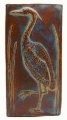 "Heron 2 Facing Left 4""x8"" Ceramic Handmade Tile - Autumn Glaze"