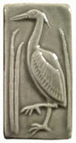 "2""x4"" Heron facing left Ceramic Handmade Tile - Gray Glaze"