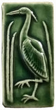 "2""x4"" Heron facing left Ceramic Handmade Tile - Leaf Green Glaze"