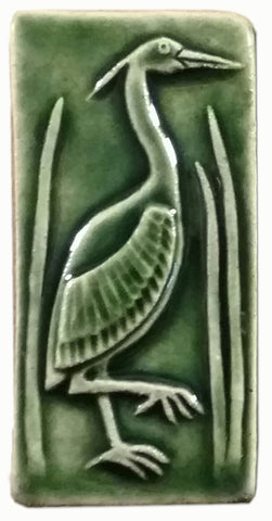 "2""x4"" Heron facing right Ceramic Handmade Tile - Leaf Green Glaze"