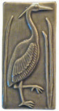 "Heron 1 Facing Right 3""x6"" Ceramic Handmade Tile - Gray Glaze"