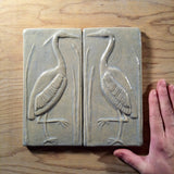 "Set Of Two 4""x8"" Heron Ceramic Handmade Tiles - Celadon Glaze Size Reference"