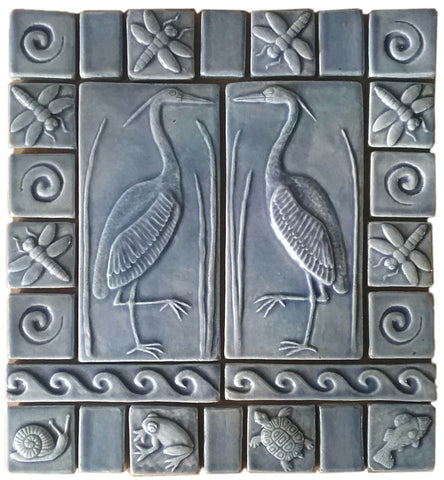 "Set Of Two 4""x8"" Heron Ceramic Handmade Tiles with 2"" and 3"" Border - Watercolor Blue Glaze"