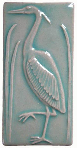 "Heron 2 Facing Left 3""x6"" Ceramic Handmade Tile - Pacific Blue Glaze"