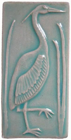 "Heron 1 Facing Right 3""x6"" Ceramic Handmade Tile - Pacific Blue Glaze"