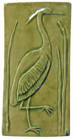 "Heron 1 Facing Right 4""x8"" Ceramic Handmade Tile - Spearmint Glaze"