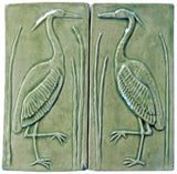 "Set Of Two 4""x8"" Heron Ceramic Handmade Tiles - Spearmint Glaze"