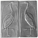 "Set Of Two 4""x8"" Heron Ceramic Handmade Tiles - Gray Glaze"