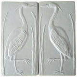 "Set Of Two 4""x8"" Heron Ceramic Handmade Tiles - White Glaze"