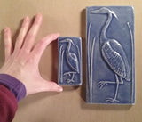 "2""x4"" Heron facing left Ceramic Handmade Tile - Size comparison 2""x4"" vs 4""x8"""