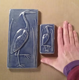 "2""x4"" Heron facing right Ceramic Handmade Tile - Size comparison 2""x4"" vs 4""x8"""